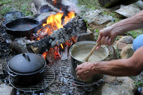 cooking polenta on a fire