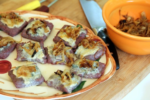 polenta squares with caramelized onions