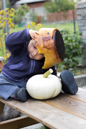 baby with polenta hat