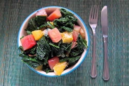 plated kale salad